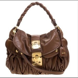 Miu Miu brown matelassee leather coffer hobo bag